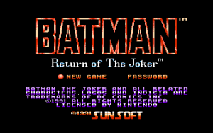 Batman: Return of the Joker, Startbildschirm
