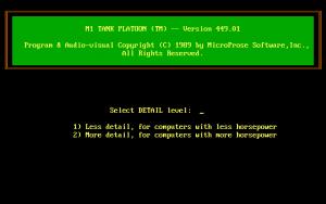 Zur der Zeit (1989) übliche Startmenü für Microprose Spiele